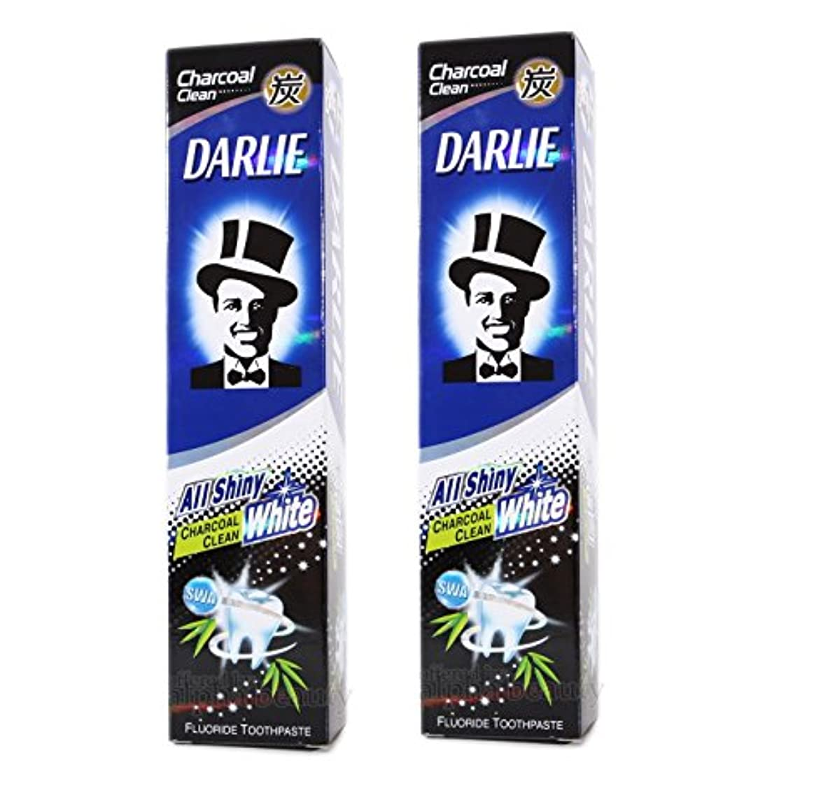 全体警報差し迫った2 packs of Darlie Charcoal All Shiny Whitening Toothpaste by Darlie