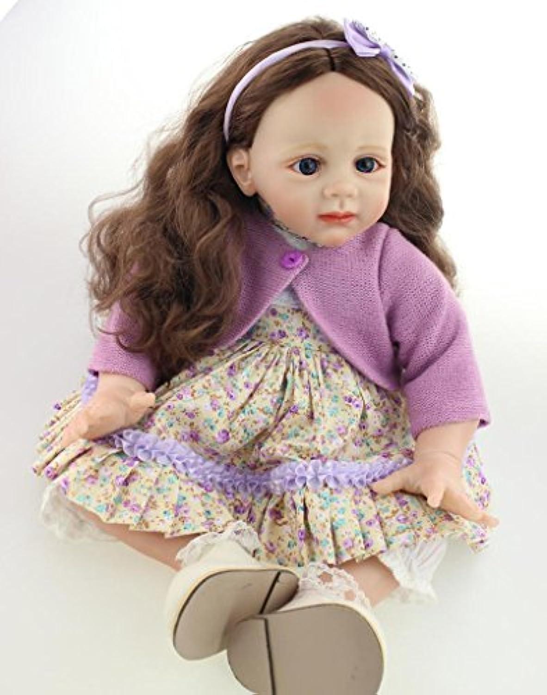 Real Lifelike人形Rebornベビービニール幼児用Girl with Long Curly Hair Kids Fake Playmate、24インチ