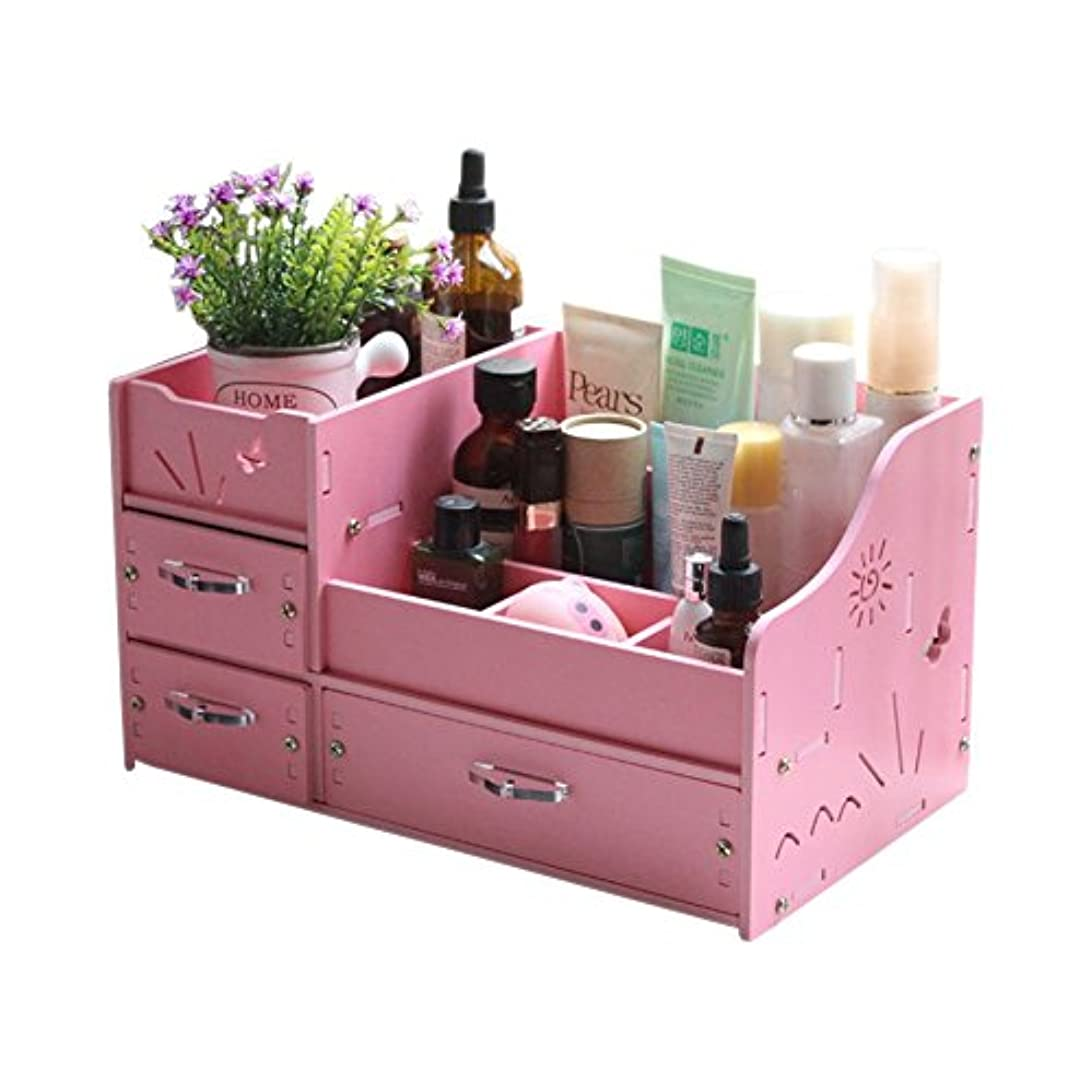 開いた警官ヒープINANA 収納ボックス メイクボックス コスメボックス ジュエリー ボックス アクセサリー ケース 収納 雑貨 小物入れ 化粧道具入れ 化粧品収納 便利 (ピンク)