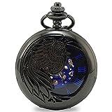 [モノジー] MONOZY 機械式 手巻き 懐中時計 両面 スケルトン アンティーク 風 ローマ数字 pwbl-a