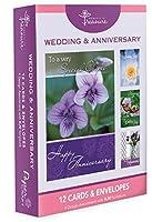 12パックボックスセットウェディングおよび/またはAnniverseryカード、バルクwith欽定訳聖書–花、蝶のグリーティングカードは彼女for Him