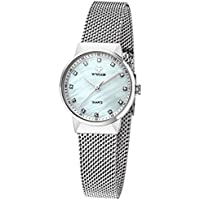WWOOR Women Rhinestone Stainless Steel Quartz Watch White
