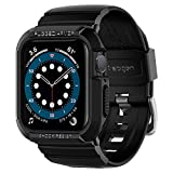 SPIGEN [Rugged Armor Pro] Apple Watch SE / 6/5 / 4 / Case + Strap with Shock Resistance and Adjustable Strap Compatible with Apple Watch SE / 6/5 / 4 (44mm) - Black