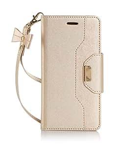 iPhone8/iphone7 ケース カバー 財布一体型 iphone7/iPhone8手帳型ケース ストラップ付き ゴールド
