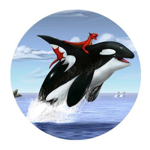 The Killer Whale Rider byドラゴンコンピュータのマウスマットラウンドマウスパッド