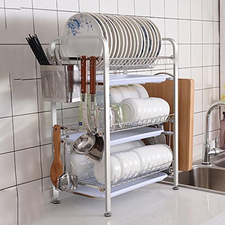 304ステンレス製のキッチンラック3段の食器棚排水ラック家庭用エアフィルター食器収納ボックス