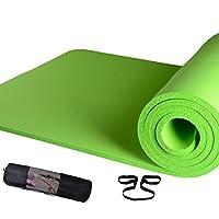 紫诺ヨガマット トレーニングマット エクササイズマット ゴムバンド 収納ケース付 厚さ10mm (グリーン)