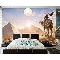 Xbwy ラクダの戦士エジプト日の出と日の入り写真の壁紙、リビングルームテレビの背景子供部屋スタディバー3Dカスタム壁画-150X120Cm