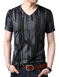 メンズ Tシャツ ストレッチ Vネック お兄系 格子柄 スポーツ トップス 半袖 伸縮 K14927