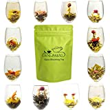 12個 さまざまなスタイル 中国茶 工芸茶 花茶 花咲く芸術品 ジャスミン茶葉 ジャスミンティー