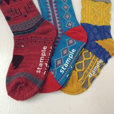 STAMPLE(スタンプル) メニーパターン クルーソックス 3足セット (13-24cm) 靴下 S:13-15cm,Aset