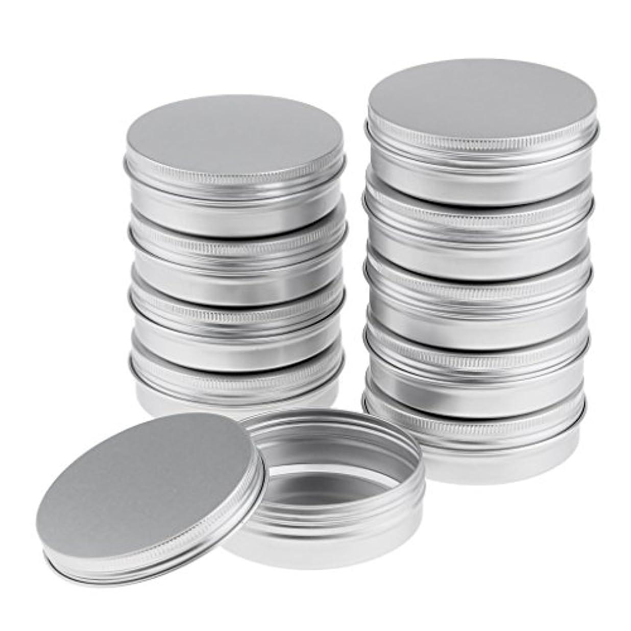 10個 空缶 空ジャー コスメ用 詰替え容器 ラウンド アルミ スクリュー蓋付き 収納 メイク道具 3サイズ選べる - 8.2x2.7 cm