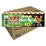 【乾電池お買い得】富士通アルカリ トップランV 単3 10個パック FUJITSU LR6(10S)TOPV ×40点セット (4976680400200)
