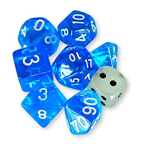 【KMP】DICE カードゲーム 多面体 ボードゲーム TRPG クリア サイコロ ダイスセット 1色(青)×7種 (蓄光ダイス+透明ダイス/2個付)+収納袋付き …