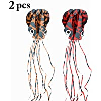 fansport 13.12 'アウトドアカイトFrameless Speckle Long Tail Octopus Kite Large Kite 2PCS FBV2715K027SQW