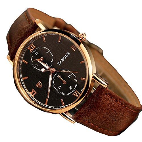 ZooooM クロノグラフ ラウンド デザイン アナログ 腕 時計 フェイク レザー ベルト ファッ...