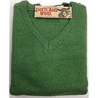 jacksmith Men's Shetland Wool V-Neck Cardigan Sweater Ragg Knitted Jumper Pullover (X-Large, Green)