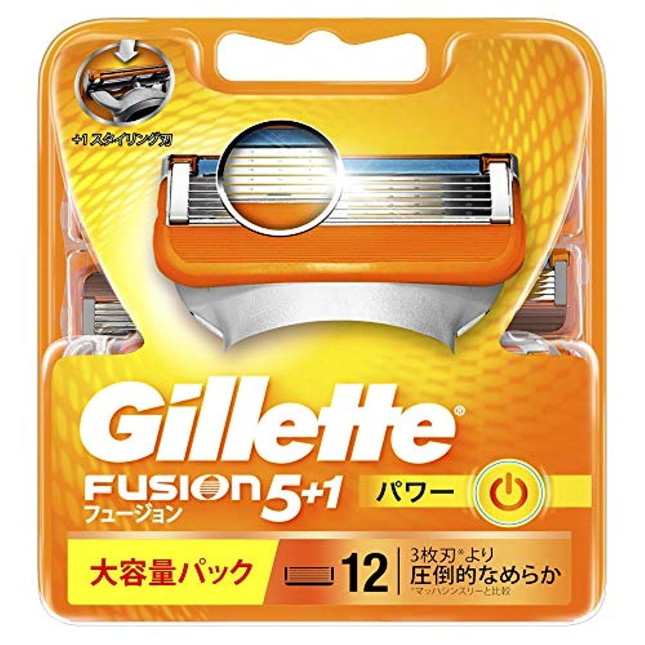 時期尚早親測定可能ジレット 髭剃り フュージョン 5+1 パワー 替刃12個入