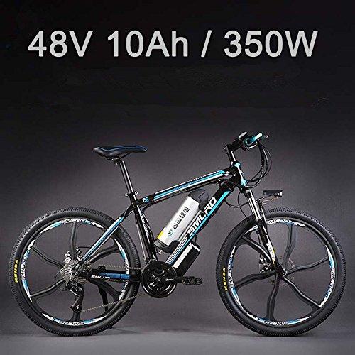 "26 ""48Vリチウム電池350Wアルミ合金電気自転車、27速電気バイク、MTB /マウンテンバイク、オイルディスクブレーキ採用 (黒靑, 10Ah 標準)"
