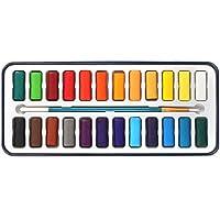 STARDUST 水彩絵具 12色 18色 24色 専用ケース付き 透明水彩 固形絵具 スケッチ 水彩画 美術 画材 (24色) SD-SUISAI-24