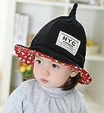 LOTUS LIFE かわいすぎる とんがり 帽子 キッズ こども コットン 男の子 女の子 両用 50cm NYC (ブラック)