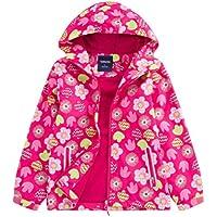 LOKTARC Girls' Fleece Lined Outdoor Windbreaker Light Windproof Jacket with Hood