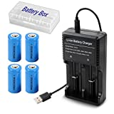 4本 16340リチウムイオン電池 CR123A 3.7V 1000mAh USB充電器付属 日本語取扱説明書付属 カメラ、ビデオ用バッテリー