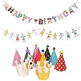 coodebearキッズ子供誕生日パーティーHatsクラウンカラフルな漫画パターン装飾バナー誕生日装飾