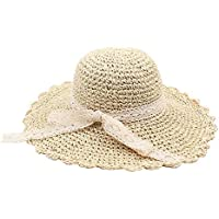 032154a28ad5f TOOGOO Straw Hat Female Foldable Out Travel Lace Bow Visor Korean Version  Of The Small Fresh Wild Sun Hat…