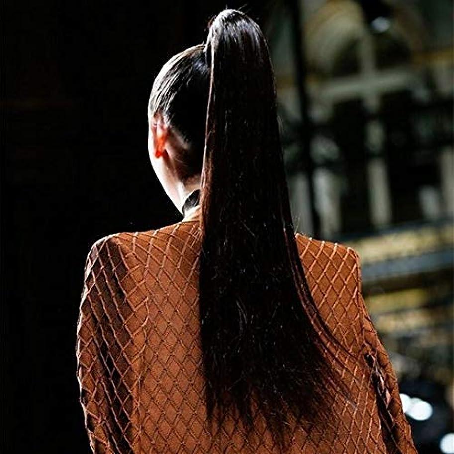 純正モーション飽和するかつら マッソン女性ストラップポケット本物のかつらの長いストレートの髪は本物の色素は高温になる場合がありかつら、スギナストラップ