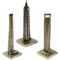 Kesoto ヴィンテージ 金属製 建物 ジンマオタワー 上海タワー コレクション 模型 ホーム オフィス 飾りもの 装飾 3個入り