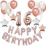 Funpa 誕生日 風船 バルーン 番号 101cm お祝い パーティー デコレーション 豪華セット 掛け飾り ローズゴールド アルミ箔 ラテックス (16歳)