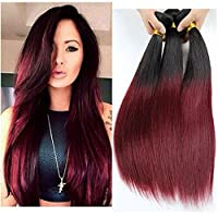 XCCOCO Brazilian Silky Straight Real Human Hair Extension 3 Bundles Black to Wine Red Ombre Two Tone Hair Weave Wefts(T1B/99J2022 24) [並行輸入品]