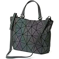 Women Top-Handbags Geometric Luminous Bag PU Leather Purses and Women Handbags Shard Lattice Eco-Friendly Holographic Purse Ladies Shoulder Bag Diamond Ladies Messenger Bags