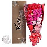 Yobansa父の日  造花 石鹸の花 花束 ソープ フラワー 大切な人 へ 感謝 の 気持ち を 伝える 花束 ( バレンタイン ・ ホワイトデー ・ 入学 ・ 卒業 ・ 誕生日 ・ 結婚記念日 など 様々な お祝い の シーン に 最適, 33 本 (3色の赤)