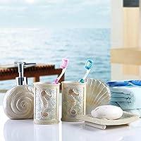 サニタリー5点セット ディスペンサー 歯ブラシスタンド 石鹸置き カップ バスチェア 洗面器 バスルームセット バス用品セット 欧式 海 貝殻 ほら貝 法螺貝 海星 おしゃれ 個性 SFANY