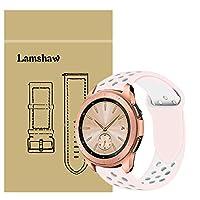 Lamshaw バンド 対応 Galaxy Watch (42mm), シリカゲルバンド スポーツ シリコン ストラップリストバンド交換バンド柔らか運動型 対応 Samsung Galaxy Watch スマートウォッチ (42mm) (Galaxy Watch 42mm, ピンク+ホワイト)
