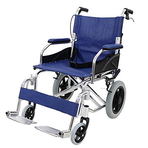 車椅子 アルミ合金製 青 約10kg 背折れ 軽量 折り畳み...