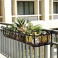 フラワースタンド ガーデンラック 植物棚 室内 花台 屋外 屋内屋外のさび止めの鉄のための金属の掛かる植物のホールダーの植物の立場 (色 : ブラック, サイズ : 120*29*16cm)