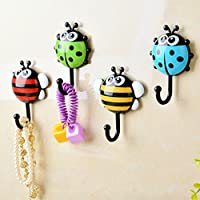 粘着フック Coersd クリエイティブ てんとう虫 蜂 漫画 浴室 壁フック 吸盤 ネイルフック 壁装飾