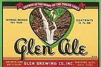 Glen Aleラベル–Watkins Glen、ニューヨーク 12 x 18 Art Print LANT-51704-12x18
