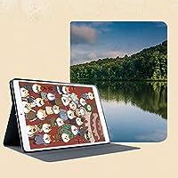 新しい IPad mini1/2/3 ケース おしゃれ 手帳型 横開き スマートカバー チェック 切り替え IPad mini3 指紋防止 [オート スリープ/スリー プ解除]湖と木のアメリカの田舎のシルエットでグランドフォレストのイメージ