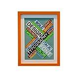 にじ・屋 額縁 パネル イーゼル 木製 壁掛け 写真 絵画 書道額 A4 28.5×20cm (オレンジ)
