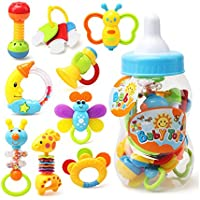 cQiSベビートイ幼児用おもちゃ歯Rattle Set withボトル新生児Earlyベルスイート