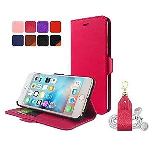 【HANATORA】 iPhone 6s Plus/6 Plus (5.5インチ) ケース PUレザー手帳型ケース ローズピンク