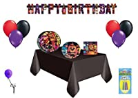 Five Nights At Freddys Mega Party 16 Guest Party Decorating Kit ~ Lunch Plates Lunch Napkins Dessert Plates Table Cover Banner Balloons [並行輸入品]