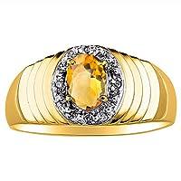 ダイヤモンド&シトリンリング14K黄色または14Kホワイトゴールド