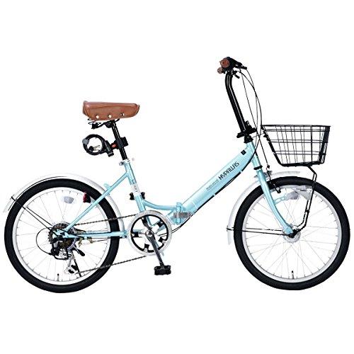 My Pallas(マイパラス) 折畳自転車20インチ・シマノ6段ギア・LEDオートライト・カゴ付・カギ付・低床フレーム クールミント M-204MERRY クールミント
