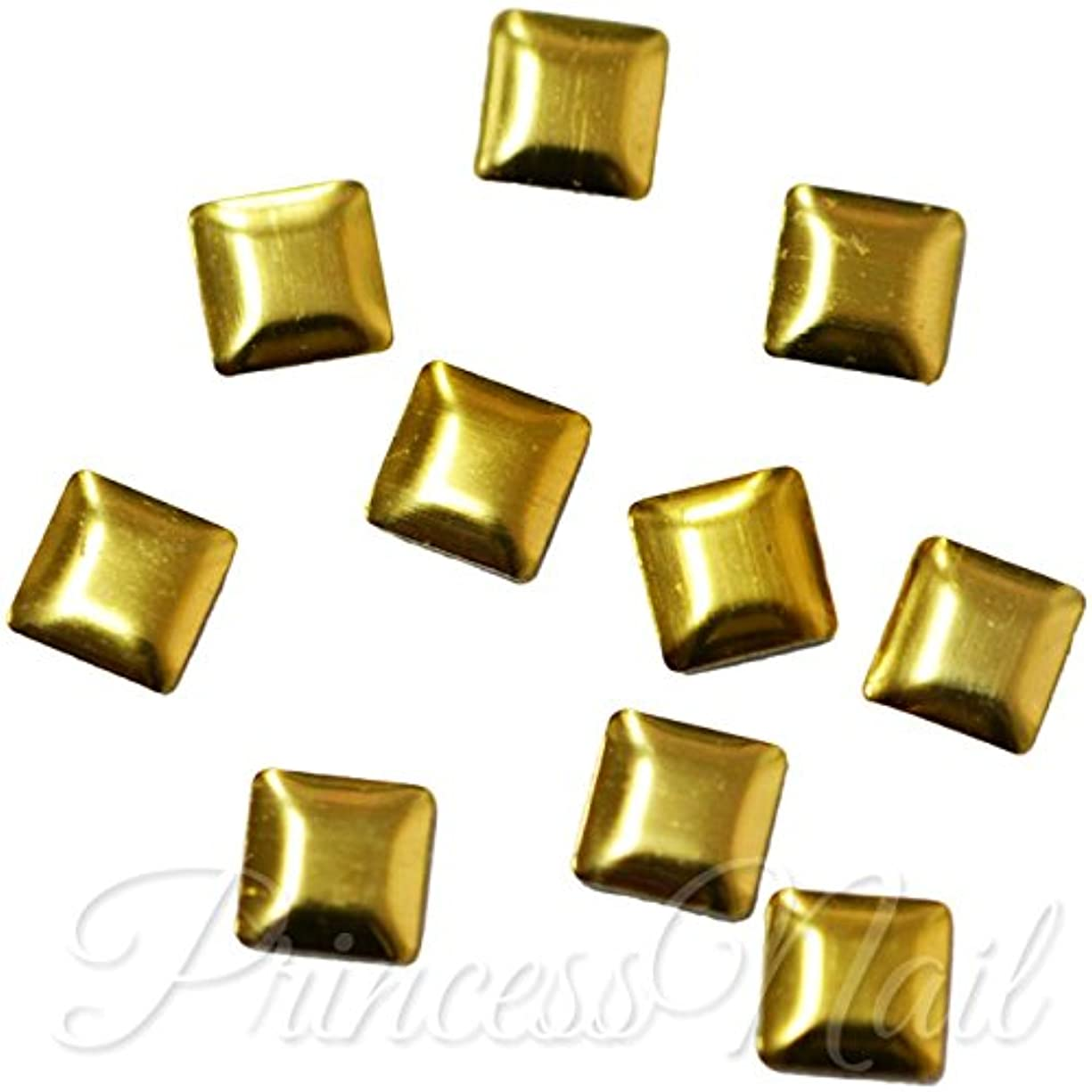 示す発行する声を出してメタルスタッズ 4mm スクエア ゴールド 約40粒