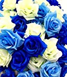 【glaystore】 バラ 造花 ローズ 薔薇 アレンジ 8センチ 50個セット 結婚式 2次会 パーティー ブライダルイベントに (ブルー×ライトブルー×ホワイト)